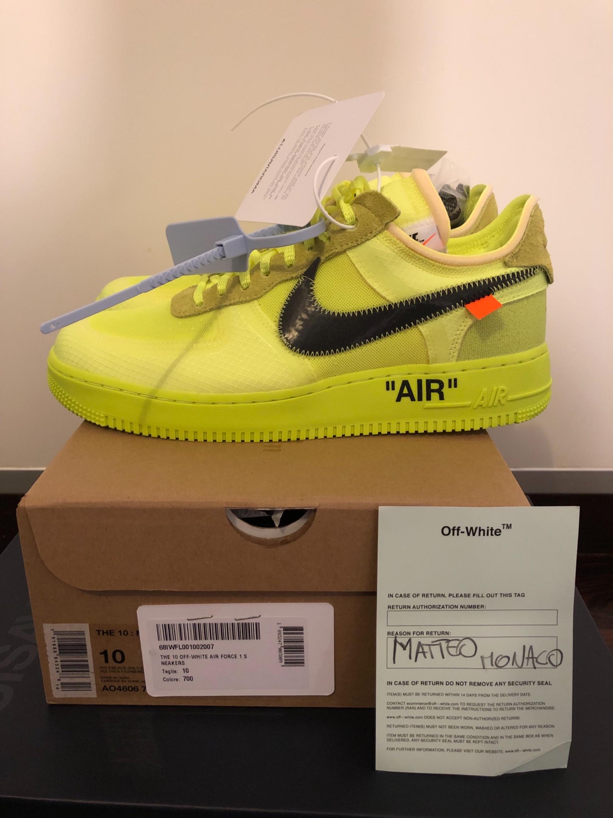 Nike Air Force 1 Off White Volt 44 EU10US Meetapp