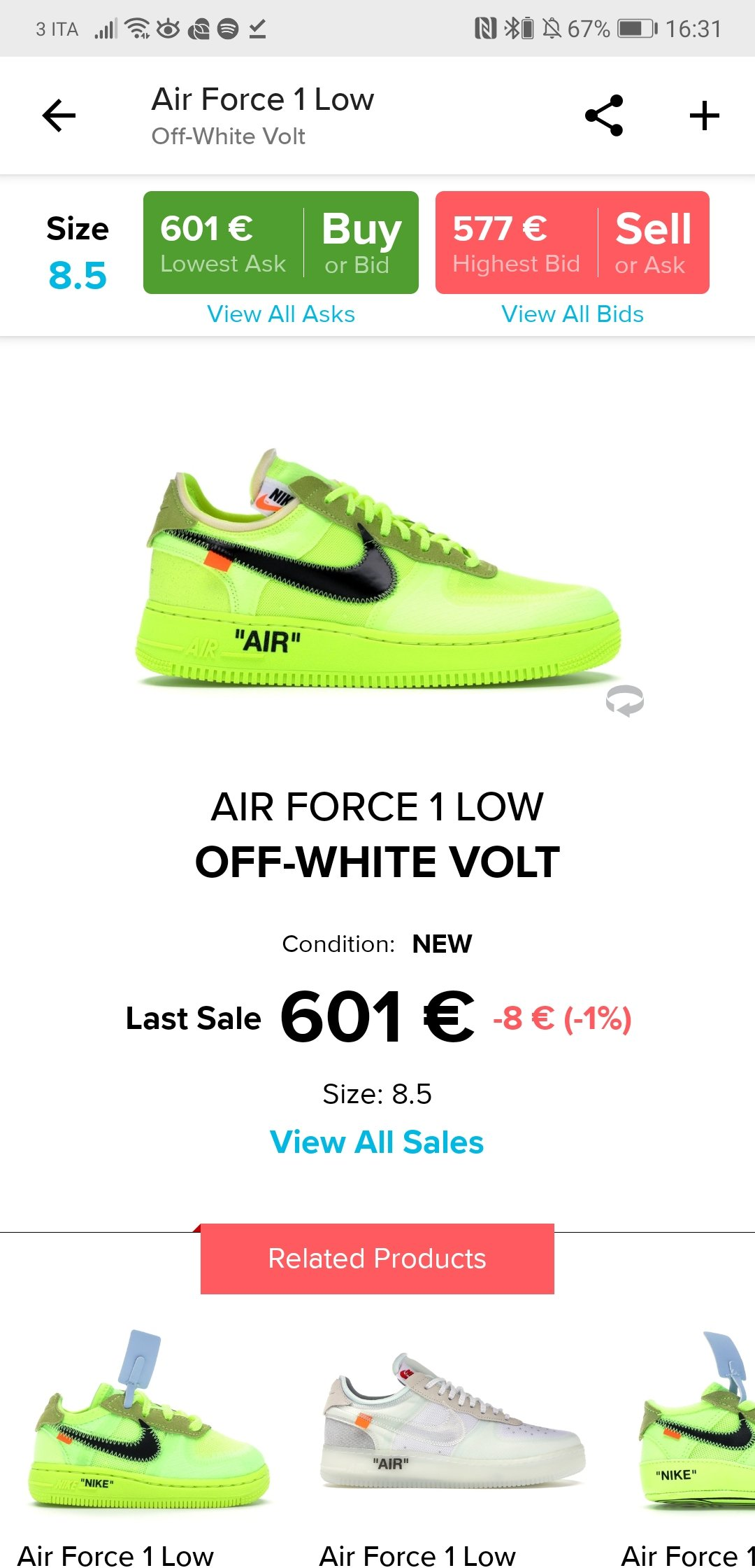 air force 1 taglia 42