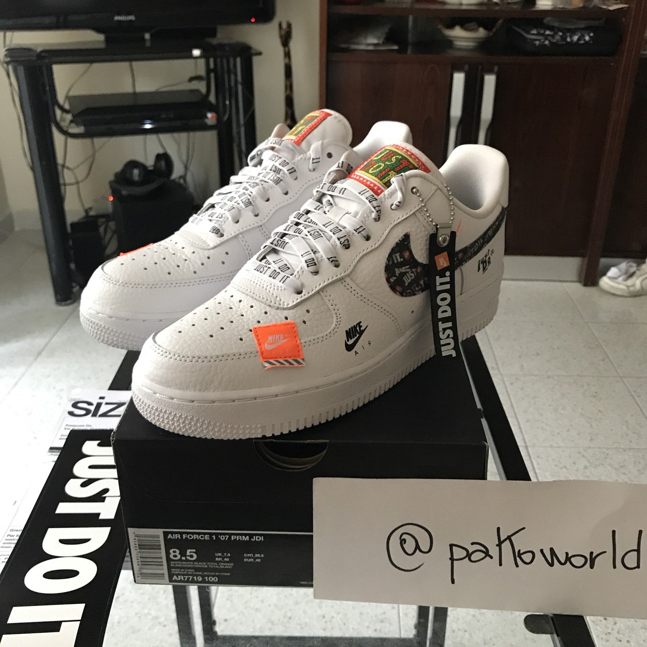 nike just do it air force 1 bianche